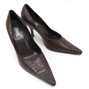 Carlos Santana 'Hip Hop' Brown Croco Leather Heels